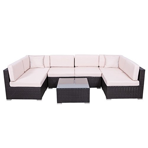 Palm Springs Outdoor 7 pc Rattan Sectional Sofa Set w/Chairs, Table & Cushions