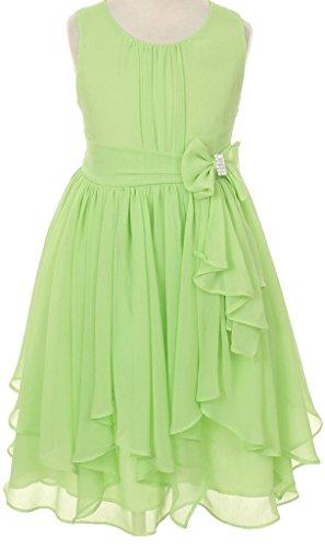 Price comparison product image AkiDress Yoryu Chiffon Asymmetric Ruffle Flower Dress for Little Girl Mint 6