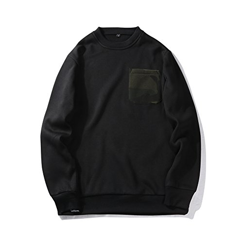 SDolphin Men's Solid Crew Neck Fleece Sweatshirt Pullover Tops with Chest Pocket S Black