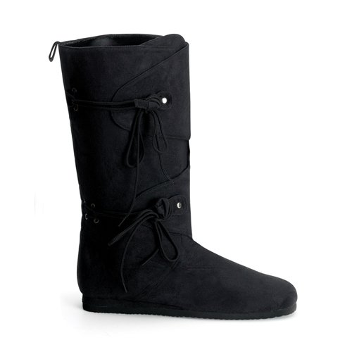 [RENAISSANCE-100, Men's Knee Boot, Black Imitation Suede-Medium (10/11)] (Suede Renaissance Boot Costumes)