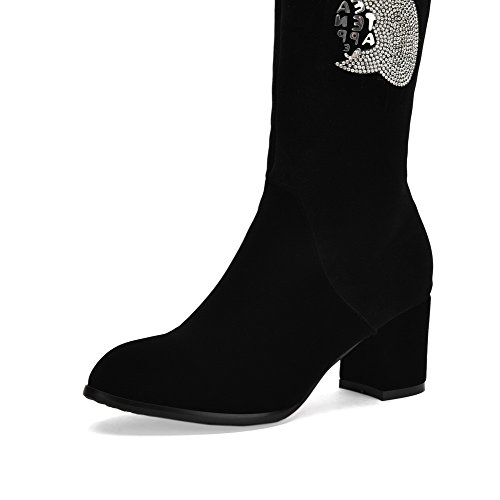 AllhqFashion Womens Solid Imitated Suede Kitten-Heels Zipper Round Closed Toe Boots Black 4TmhhPqL