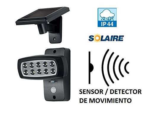 FOCO LED CON SENSOR MOVIMIENTO RECARGABLE POR SOLAR CON BATERIAS luz led IP44 Y HASTA -