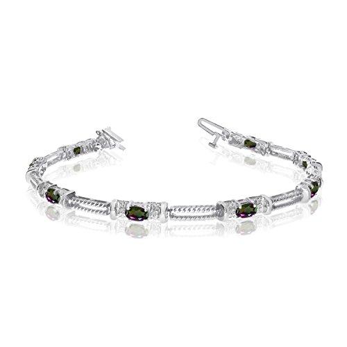 14k White Gold Natural Mystic-Topaz And Diamond Tennis Bracelet