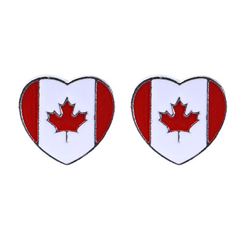 Amosfun 2 Pcs National Flag Brooch Creative Alloy Lapel Pin Brooch Costume Jewelry Decoration for Men and Women (Canada Flag Pattern) -