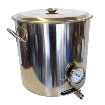 Home Brew Stuff 32 quart Stainless Steel Beer Brewing Kettle with Bazooka Screen, 8 gallon