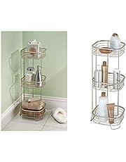 InterDesign Forma Free Standing Bathroom or Shower Storage Shelves for Towels, Soap, Shampoo, Lotion, Accessories, Satin, 3-Tier Shower Shelf