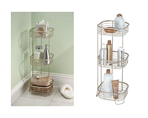 New iDesign Forma Metal Wire Corner Standing Shower Caddy, Bath Shelf Baskets for Shampoo, Condition...