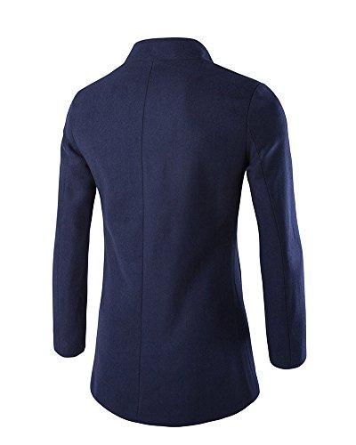Chaqueta Abrigo DianShao Coat Slim Elegante Armada Manga Casual Parka Hombres Larga Trench nx1w7q6Cn