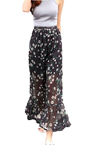 - Moon Market Women Floral Chiffon Pleated Hem Wide Leg Casual Loose High Waist Cropped Pants Trousers Palazzo (L, White Flower)