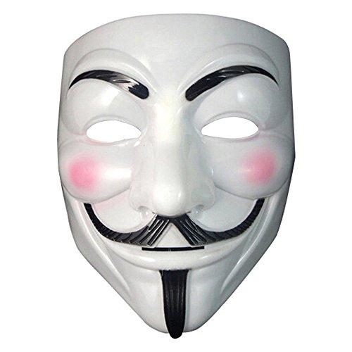 Gaobei V for Vendetta Mask Guy Fawkes Anonymous Halloween Masks Fancy Dress Costume,White