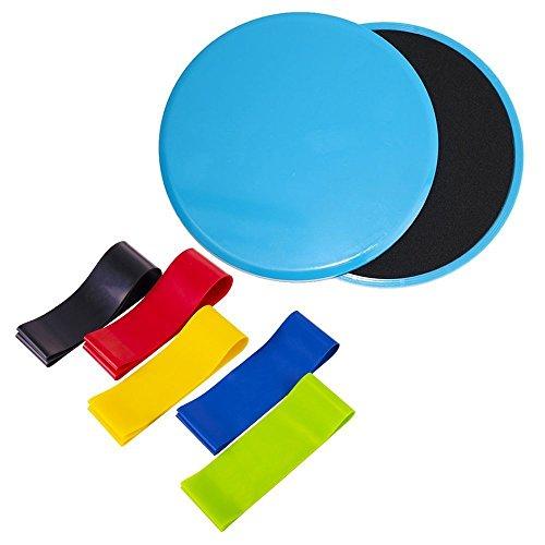 CN Lot de 2disques de glisse et de résistance Loops- Lot de 5bandes d'exercice pour Étirer la thérapie physique et 2Core d'exercice de curseurs pour tapis de sol en bois dur ou Home Gym