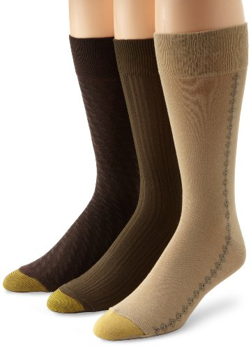 Gold Toe Mens Crew Fashion Patterned Dress 3-Pack Sock