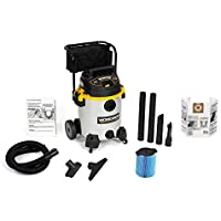 WORKSHOP Wet/Dry Vacs WS1600SS Heavy Duty Stainless Steel Wet Dry Shop Vacuum with Cart, 16-Gallon, 6.5-Peak HP with Dust Collection Bag