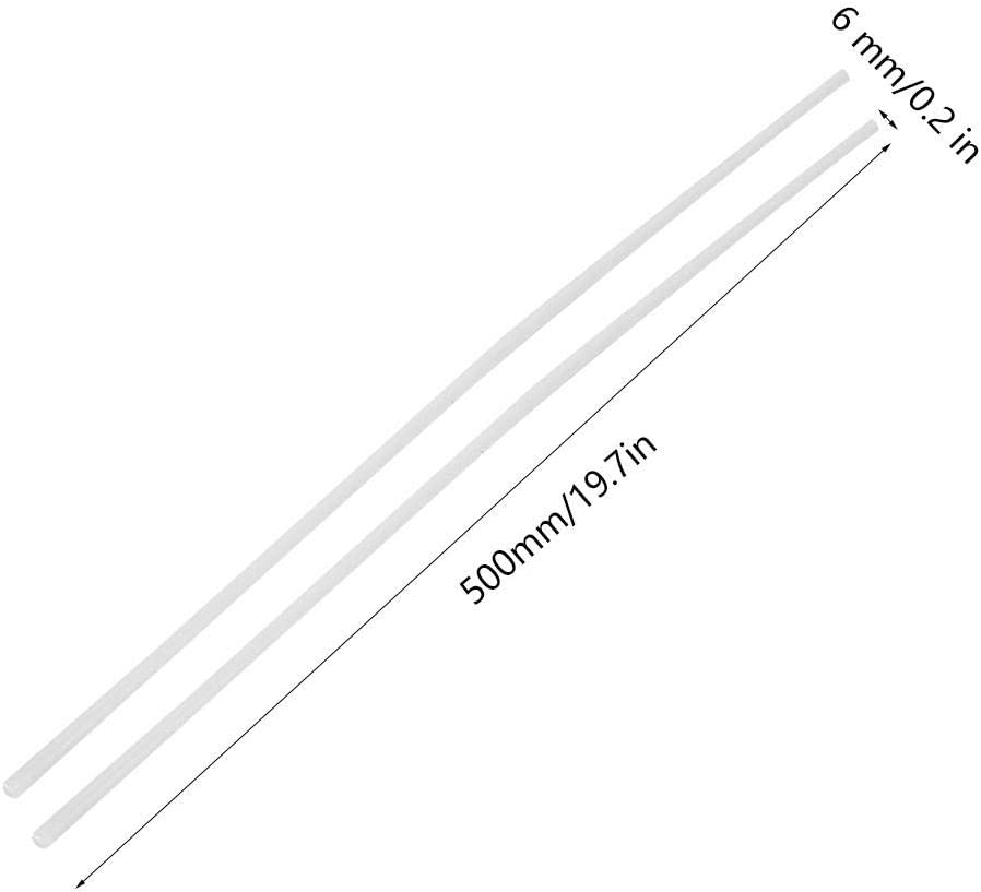 2Pcs 0.2 /× 19.7In Engineering Nylon Bar Wear-resisting Round Plastic /& Rubber Rods
