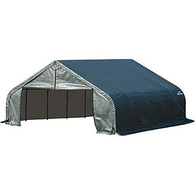 ShelterLogic Peak Style Garage/Storage Shelter - Green, 28ft.L x 18ft.W x 12ft.H, 2 3/8in. Frame, Model# 80025