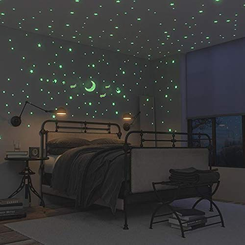 Glow in The Dark Stars and Moon, Ztent 221 Pcs Glowing Wall and Ceiling Decal Stickers, Perfect for Kids Bedding Room or Party Birthday Gift ()