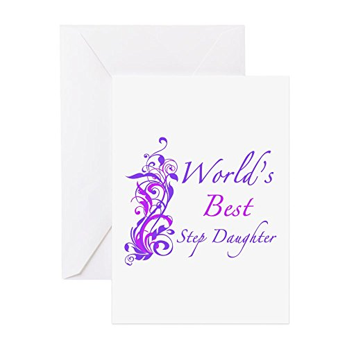 CafePress - World's Best Step Daughter (Floral) - Greeting Card, Note Card, Birthday Card, Blank Inside Matte (Greatest Worlds Three Step)