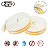 2Pack 32Ft Window Seal Strip for Doors and Windows- Self-adhisive Foam Weather Strip Door Seal | Soundproof Seal Strip Insulation Gap Blocker Epdm (E Type White)7/20-Inch x 3/20-Inch x 8-Feet(4 Seals)