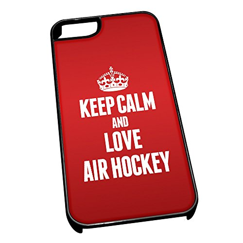 Nero cover per iPhone 5/5S 1679Red Keep Calm and Love Air hockey