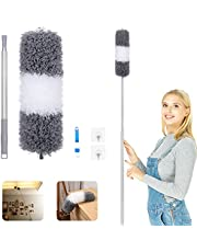 Duster Cleaning Tool for Gap Under Appliance, Dust Removal,Microfibre Feather Dusters,Cleaning Kit with Telescoping Extension Pole to 60inches and 2 Duster Heads,Cleaning Brush