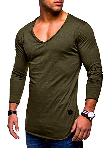 behype. Men's Basic V-Neck Casual Fashion Hipster T-Shirt Muscle Longline Tee Casual Premium Top MT-7314 (M,Khaki)