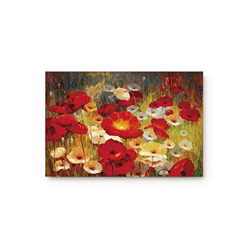 URDER Welcome Doormats Rubber Non-Slip Floor Mat Rugs for Entrance Way/Indoor/Front Door/Bathroom/Kitchen, Shoe Scraper Carpet 30 x 18 Inch Art Poppy Flower Oil Painting (Door Mat Front Red)