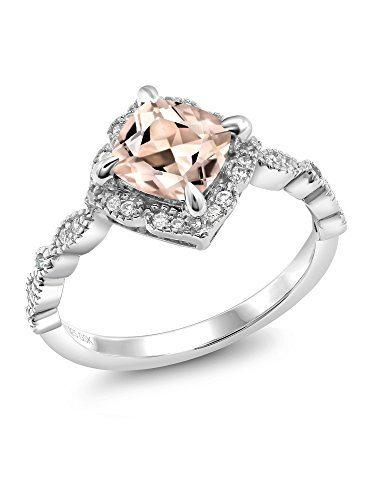 1.64 Ct Cushion Peach Morganite 925 Platinum Plated Sterling Silver Ring (Price Patron Platinum)