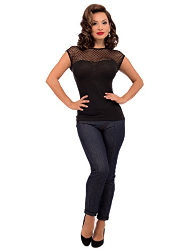 Heart-Only-Black-Lace-Top-Shirt-Rockabilly-Pinup-Retro