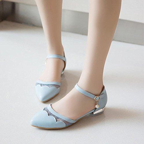 Charm Foot Mujeres Sweet Mesh Con Tacón Bajo, Correa Para El Tobillo, Hebilla, Bomba, Zapatos, Azul