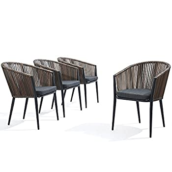 Modern Patio Rattan Dining Chairs Set of 4 - Comfy High Bow-Back Metal Windsor Arm Chairs, Stackable for Outdoor Garden Café Restaurant Bistro Bar Dinette and Hotel w/Cushions