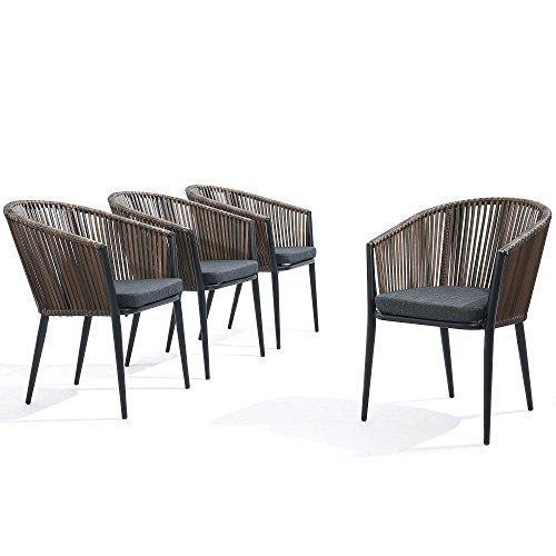 Modern Patio Rattan Dining Chairs Set of 4 - Comfy High Bow-Back Metal Windsor Arm Chairs, Stackable for Outdoor Garden Café Restaurant Bistro Bar Dinette and Hotel w/Cushions (Bow Comfy)