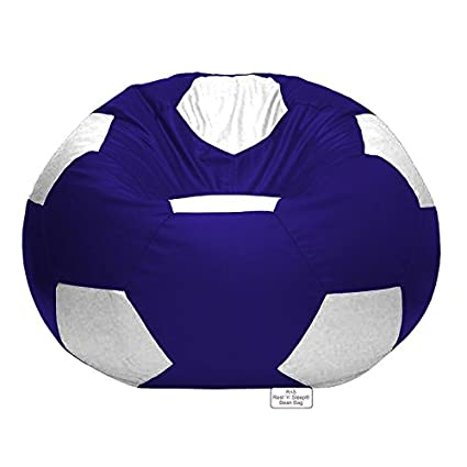 Astounding Rns Rest N Sleep Football Chair Filled Bean Bags With Filler 3Xl White And Royal Blue Theyellowbook Wood Chair Design Ideas Theyellowbookinfo