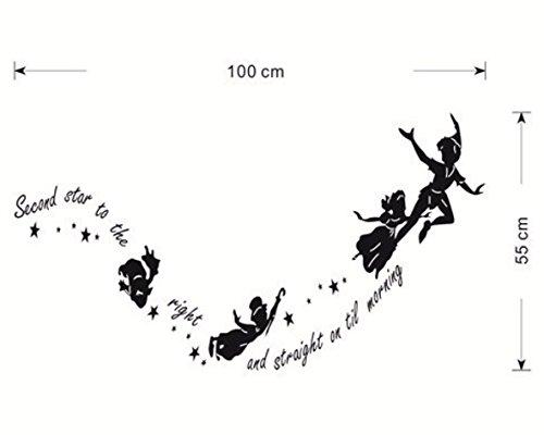 Amazon|【WallSticker本舗】空飛ぶピーターパン達のウォールステッカー シルエットと英字柄 賃貸OK\u003c転写\u003e  [並行輸入品]|ウォールステッカー オンライン通販