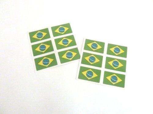 Mini Pack De Pegatinas, 33x20mm Rectangulares, autoadhesivo Brasil Etiquetas , Brasileñas Pegatinas Con Banderas Minilabel