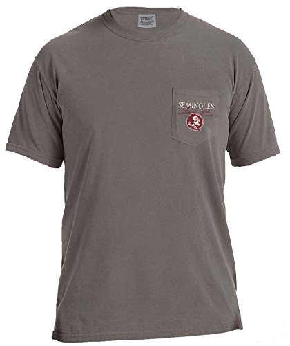 Image One NCAA Florida State Seminoles Adventures Short Sleeve Comfort Color Pocket Tee, XX-Large, (Florida State Colors)