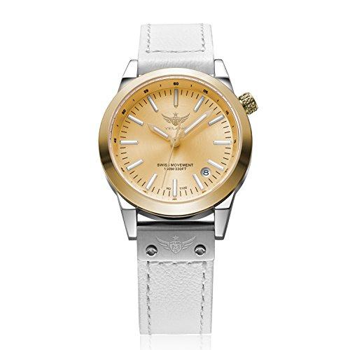 (YELANG V1010.sw Women T100 Tritium Luminous Waterproof Lady Fashion Business Quartz Watch Wristwatch with Swiss Ronda Quartz Movement -)
