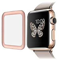 SUPTECH Apple Watch Screen Protector 38mm FULL Coverage [Ultra Thin] 0.2mm Real Apple Watch Tempered Glass Screen Protector(38mm Rose Gold)