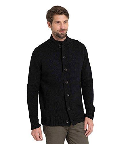 WoolOvers Strickjacke für den Alltag aus reiner Wolle mit Knöpfen für Herren Black, M