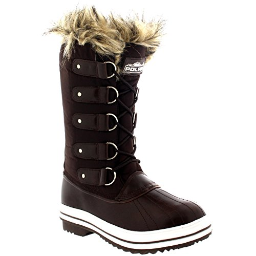 POLAR Winter Boots Snow Nylon Womens Lace Rain Brown Tall Rubber up Sole Cuff Shoe Waterproof gRqHwarg