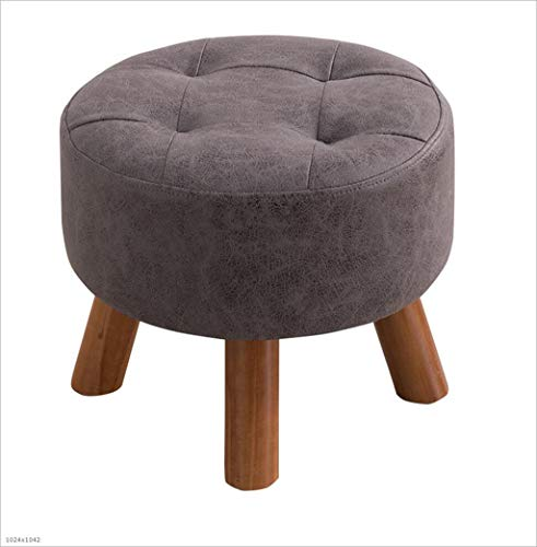 3 Foot Round Bench - AYMMY Leather Round Footstool Sofa Stool Multi-Function Padded Shoe Bench 3 Feet Support Size 40X40x32cm,Grey