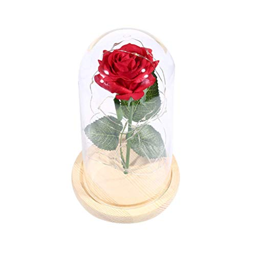 (Beauty and The Beast Rose Enchanted Rose,Red Silk Rose and Led Light in Glass Dome on Wooden Base with USB LED String Lights for Valentine's Day Mother's Day Birthday Party Bedroom )