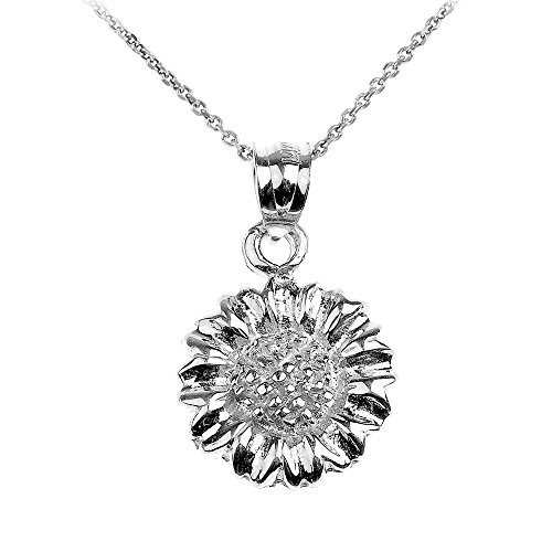 Polished 10k White Gold Sunflower Charm Pendant Necklace, 20