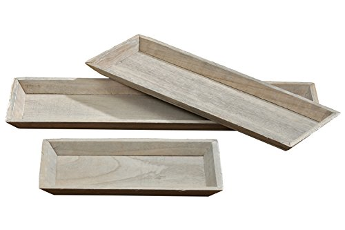 Set of 3 Farm House Style Trays, All Natural Wood, Rustic Gray, Rectangular, 21 3/4, 17 3/4, and 11 3/4 Inches Long ()
