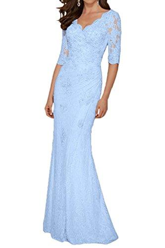La Bodenlang Ausschnitt Etuikleider Abendkleider Champagner Braut V Blau Hell mia Spitze Brautmutterkleider Hochwertig x4nvrTxawq