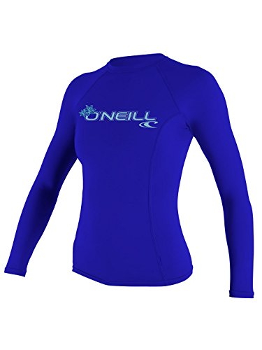 O'Neill Wetsuits UV Sun Protection Womens Basic Skins Long Sleeve Crew Sun Shirt Rash Guard, Tahitian Blue, Medium