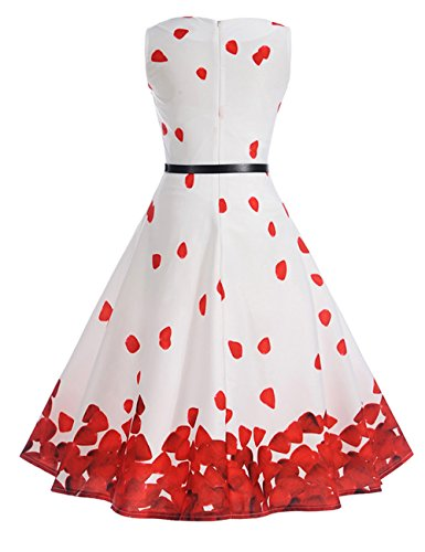 HUINI Vintage Kleid Blumen 50er 60er Retro Rockabilly Swing Kleider Geblümt  Cocktailkleid Ärmerllos Sommer Partykleider Gürtel ... b48ec742d6