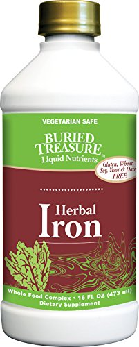 Buried Treasure: Herbal Iron Supplement Promotes Blood Building & Healthy Iron Levels for Women & Men - Liquid Iron 16 oz Bottle - Vegan Non-Constipating ()