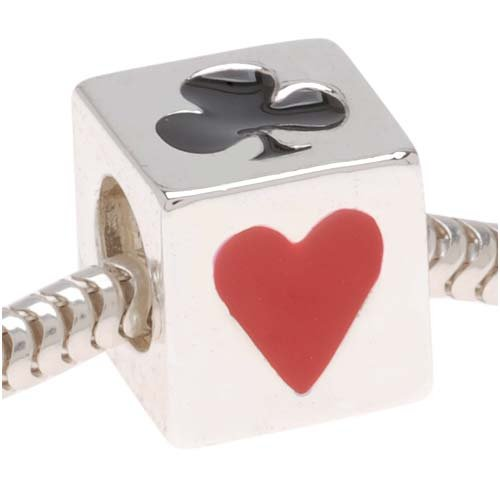 (Delight Beads Silver Tone Cube with Playing Card Suits Bead - European Style Large Hole (1))