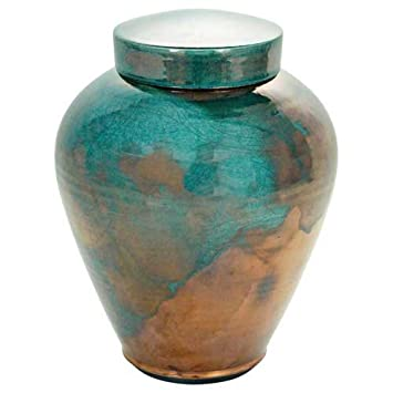 Silverlight Urns Timeless Turquoise Raku Urn, Blue and Copper Handcrafted Ceramic Cremation Urn for Ashes, Adult Sized, 10 Inches Tall