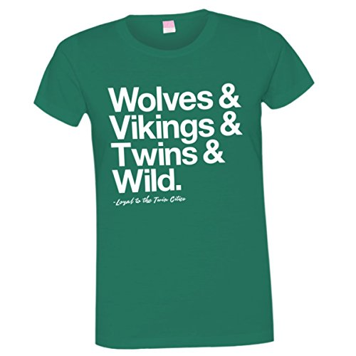 Womens Loyal Timberwolves Vikings Twins Wild MN Sports Tee Grn-XXL
